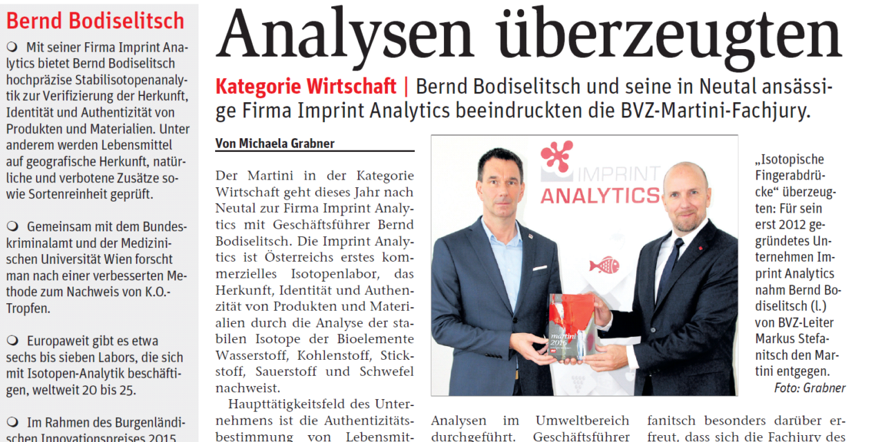Award for Imprint Analytics – Martini prize of BVZ in the category economy